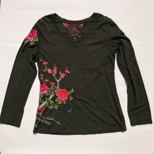 Johnny Was Floral Embroidered Army Green Shirt
